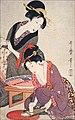 Deux femmes préparant le Sashimi de K. Utamaro (musée national de Tokyo) (42290107082).jpg