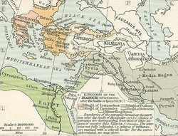 Western Asia and the Eastern Mediterranean following the Fourth War of the ملوك طوائف الإسكندر in 301 BCE.Media Atropatene, off to the immediate south-west of the بحر قزوين, had declared independence by then.The rest, and greater part, of Media lies to the immediate south and remained a سلوقيون governate.