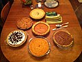 Different types of pies on a dining table.jpg