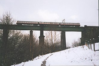Dinting Viaduct - Image: Dinting viaduct in the snow