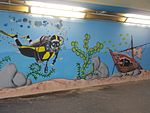 Diver and shipwreck, street art 2016 at Fonyód train station in Hungary.jpg