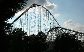 Roller coaster - Steel Force (left) and Thunderhawk (right), two roller coasters at Dorney Park & Wildwater Kingdom in Allentown, Pennsylvania