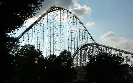 Steel Force (left) and Thunderhawk (right), two roller coasters at Dorney Park & Wildwater Kingdom in Allentown, Pennsylvania Dorney Park Steel Force Thunderhawk.jpg
