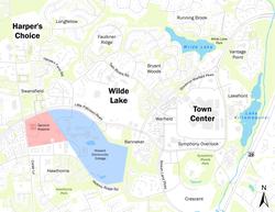 Downtown Columbia com o Centro da Cidade e as Aldeias de Wilde Lake e de Harper Choice.