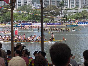 Dragon boats racing to the finish line