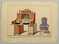 Drawing, Large Desk and open-arm Chair in blue fabric, 1860 (CH 18801945).jpg