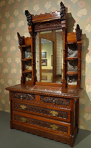 Benjamin Pitman - Image: Dresser by Benn Pitman designer, Adelaide Nourse Pitman carver, Elizabeth Nourse attrib painter, c. 1882 1883, American black walnut, white oak, painted panels, glass, gilded brass Cincinnati Art Museum DSC03055