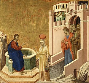 Samaritan woman at the well - Image: Duccio di Buoninsegna Christ and the Samaritan Woman Google Art Project