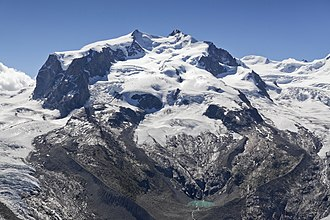 Monte Rosa - Central Monte Rosa massif with Dufourspitze to the south (right) and Nordend to the north (left), the Monte Rosa Glacier right below on its western wing, the upper Gorner Glacier on the left, and the Grenzgletscher to the right