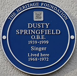 Dusty Springfield - Plaque, 38-40 Aubrey Walk, London