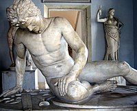 The Dying Gaul was a famous statue commissioned in some time between 230 BC and 220 BC by King Attalos I of Pergamon to honor his victory over the Celtic Galatians in Anatolia. Roman marble copy of a Hellenistic work of the late third century BCE. Capitoline Museums, Rome.