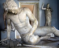 The Dying Gaul, an ancient Roman marble copy of a lost ancient Greek statue, thought to have been executed in bronze, commissioned some time between 230 BC – 220 BC by Attalos I of Pergamon to honour his victory over the Galatians.