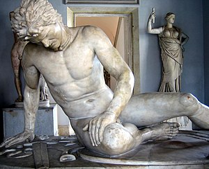The Dying Gaul, a Roman marble copy of a Hellenistic work of the late third century BCE Capitoline Museums, Rome.