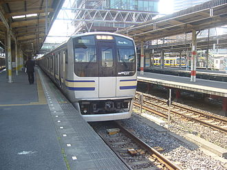 Sōbu Line (Rapid) - An E217 series EMU at Chiba Station