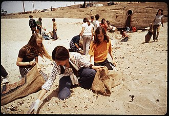 St. Bonaventure High School - Image: EIGHTH GRADE STUDENTS FROM ST. BONAVENTURE HIGH SCHOOL SPEND RECESS PERIOD PICKING UP TRASH ON BEACH NEAR OIL WELLS NARA 542655