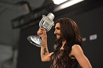 Eurovision Song Contest 2014 - Wurst holds the Eurovision trophy after winning.