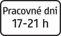 E 12 - Dodatková tabuľka s textom, časové ohraničenie počas pracovných dní (vzor) 2.png