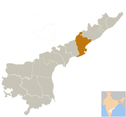 Location of East Godavari district in Andhra Pradesh
