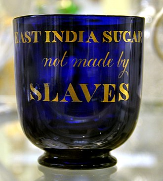 "Free produce movement - This 1820s sugar bowl describes its contents as ""EAST INDIA SUGAR not made by SLAVES"""