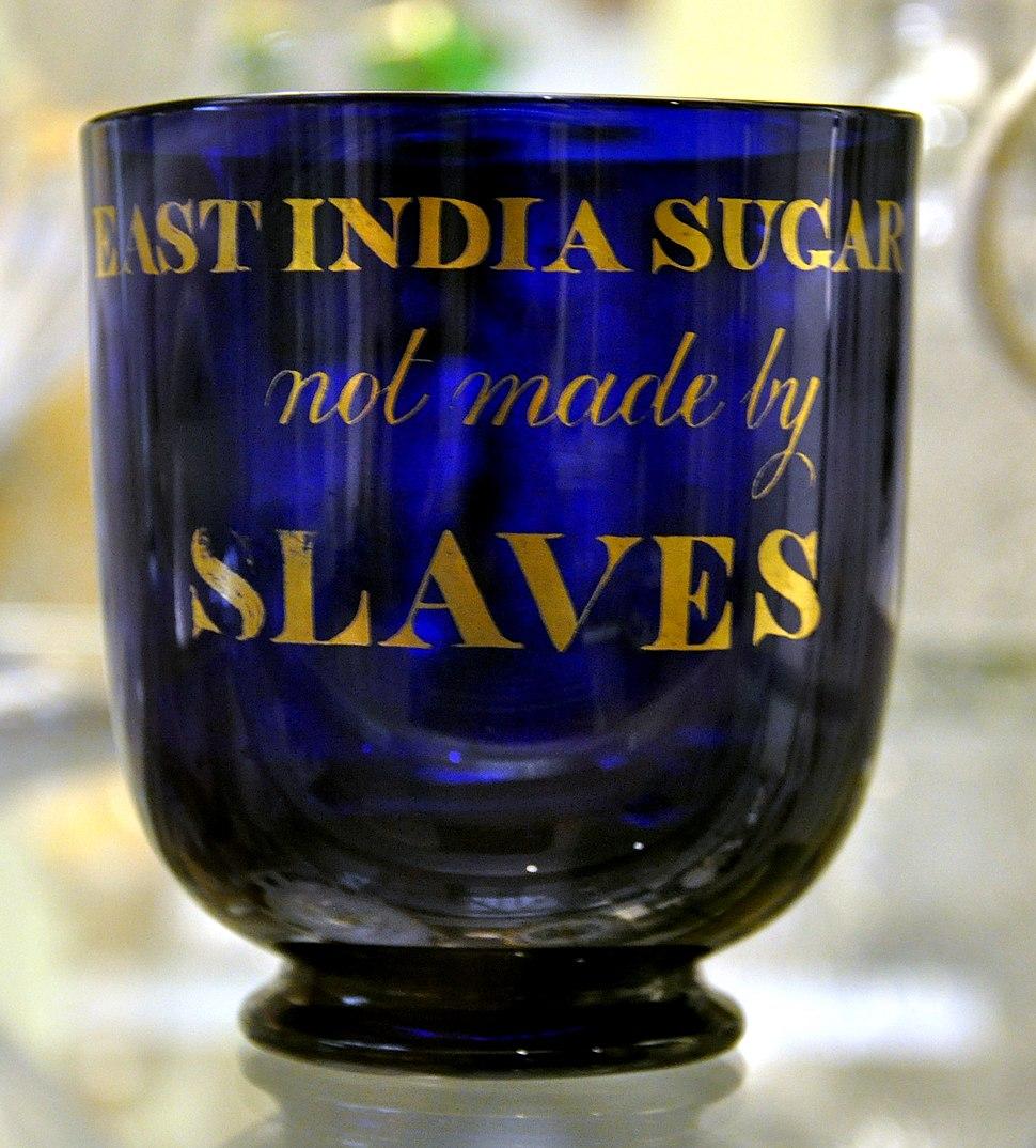East India Sugar not made by Slaves Glass sugar bowl BM