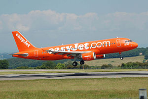 Landing flare - An Easyjet Airbus A320 flares at Bristol Airport, England