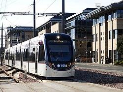 Edinburgh tram at Haymarket Yards (geograph 3885350).jpg