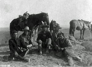 Edward Curtis with Crow Indians 1908