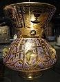 Egitto o siria, lampada da moschea con nome dell'emiro shaykhu, 1350-55 ca., vetro soffiato.JPG