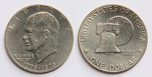 Frank Gasparro - Obverse: Eisenhower portrait,  US national motto, Liberty on top,  US Independence year (1776)  and year of minting (1976).