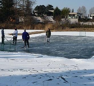 Pond hockey - Image: Eishockey auf dem Backsteinweiher panoramio