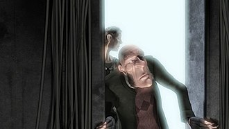 Bloom (shader effect) - An example of bloom in a computer-generated image (from Elephants Dream). The light on the bright background bleeds on the darker areas, such as the walls and the characters.