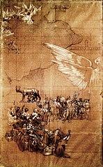 Alegoria a Roma - Cartão de transferência para o pano de boca do Theatro Municipal do Rio de Janeiro