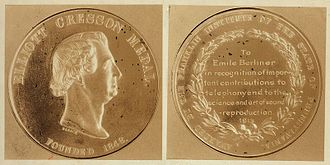 Elliott Cresson Medal - Elliott Cresson Medal given to Emile Berliner in 1913