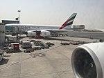 Emirates A380 at gate in Dubai, Jul 2017.jpg