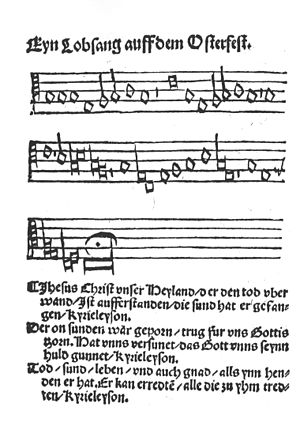 "Erfurt Enchiridion - The song ""Jesus Christus, unser Heiland, der den Tod überwand"" (Jesus Christ, our saviour, who overcame death) by Martin Luther, titled ""Ein Lobgesang auf dem Osterfest"" (A song of praise on the Easter feast)"