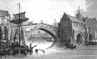 Bridges of York - An engraving of the fourth Ouse Bridge (1565–1810)