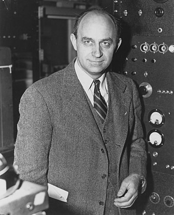 Physicist Enrico Fermi is credited with the creation of the world's first atomic bomb and nuclear reactor. Enrico Fermi 1943-49.jpg