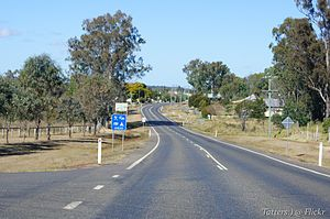 Eidsvold, Queensland - Arriving at Eidsvold from the north on the Burnett Highway, 2011