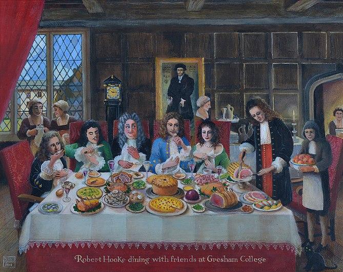 Entertaining Friends to Dinner at Gresham College. Robert Hooke is host.JPG