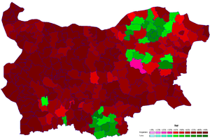 Majority minority - The green areas have a Turkish majority or plurality, while the pink and light red areas have a Bulgarian plurality but not a Bulgarian majority.