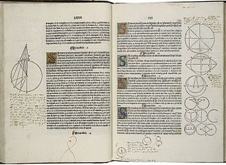 Euclid's Elements - A page with marginalia from the first printed edition of Elements, printed by Erhard Ratdolt in 1482
