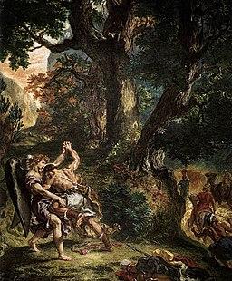 Eugène Delacroix - Jacob Wrestling with the Angel (detail) - WGA06221