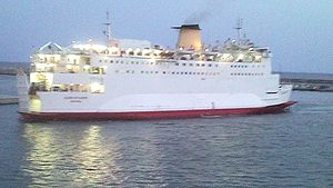 Port of Almeria - MV Eurovoyager arrives at dusk