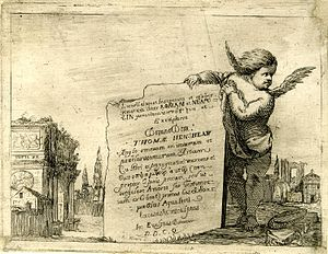 Thomas Henshaw (alchemist) - Etching by John Evelyn, dedicated to Henshaw, from their Italian travels.