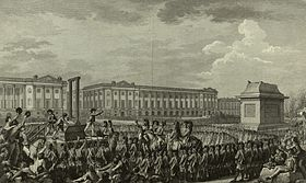 The execution of Louis XVI. Crowds of people are gathered and a guillotine is in the center of the square.
