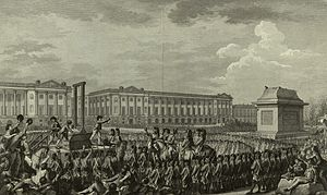 Place de la Concorde - Execution of Louis XVI in the then Place de la Révolution. The empty pedestal in front of him had supported a statue of his grandfather, Louis XV, torn down during one of the many revolutionary riots.