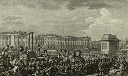 Execution of Louis XVI in the then Place de la Revolution. The empty pedestal in front of him had supported a statue of his grandfather, Louis XV, torn down during one of the many revolutionary riots. Execution of Louis XVI.jpg