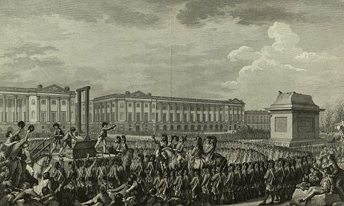 Execution of Louis XVI in the Place de la Revolution. The empty pedestal in front of him had supported an equestrian statue of his grandfather, Louis XV. When the monarchy was abolished on 21 September 1792, the statue was torn down and sent to be melted. Execution of Louis XVI.jpg