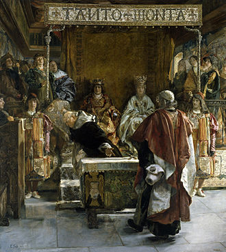 King of Arms - Kings of Arms appear in a painting where Grand Inquisitor Tomás de Torquemada in 1492 asks the Catholic Monarchs to issue the edict for expulsion of the Jews from Spain.