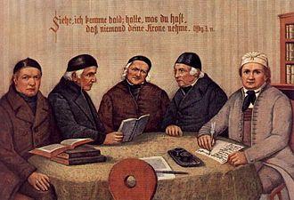 """Pietism - The """"Five Brothers of Württemberg Pietism: Johannes Schnaitmann, (1767-1847),Anton Egeler, (1770-1850), Johann Martin Schäffer, (1763-1851), Immanuel Gottlieb Kolb (1784-1859), and Johann Michael Hahn(1758-1819)."""
